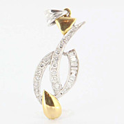 Estate 10 Karat Yellow White Gold Diamond Pendant Fine Jewelry Pre-Owned Used Vintage