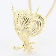Vintage 14 Karat Yellow Gold Diamond Owl Bird Pendant Necklace Fine Estate Jewelry Used