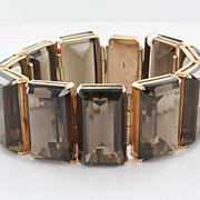 Vintage 14 Karat Yellow Gold Smokey Quartz Bracelet Estate Fine Jewelry Big