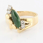 Vintage 14 Karat Yellow Gold Jade Diamond Cocktail Ring Estate Fine Jewelry Pre Owned