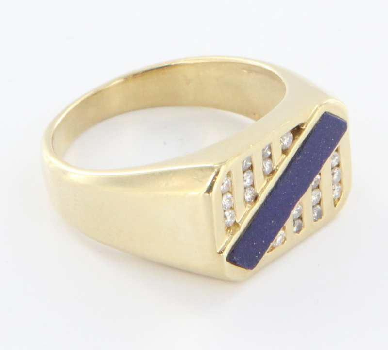 Vintage 14 Karat Yellow Gold Diamond Lapis Lazuli Mens Ring Fine Estate Jewelry
