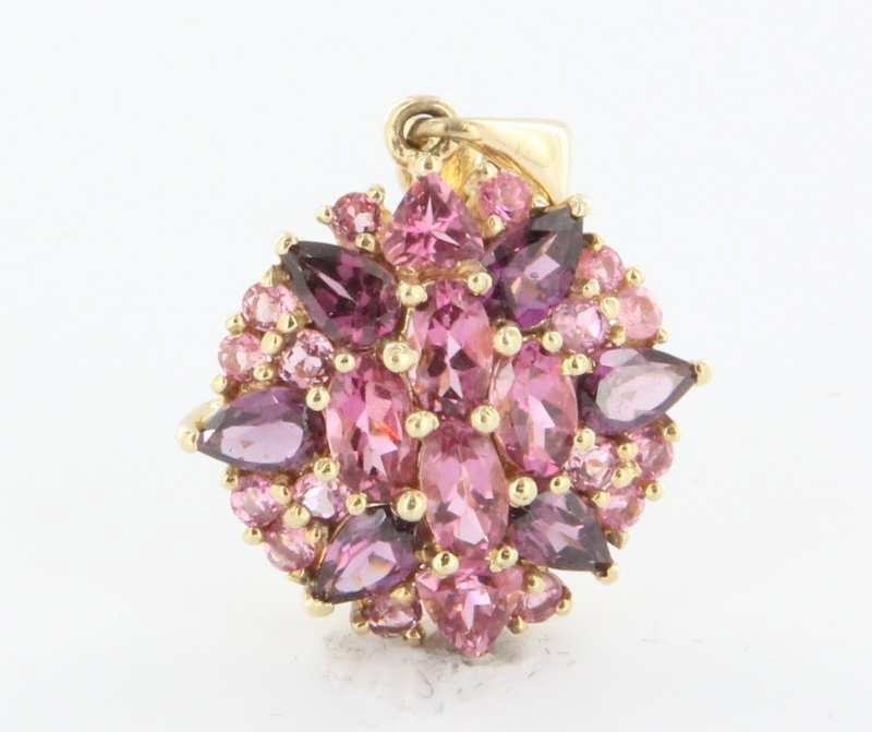 Estate 14 Karat Yellow Gold Pink Topaz Tourmaline Pendant Fine Jewelry Used