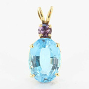 Estate 14 Karat Yellow Gold Amethyst Blue Topaz Pendant Fine Jewelry Pre-Owned