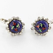 Vintage 14 Karat White Gold Spinel Enamel Flower Drop Earings Fine Jewelry
