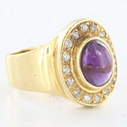 Vintage 18 Karat Yellow Gold Amethyst Cubic Zirconia Pinky Ring Fine Jewelry
