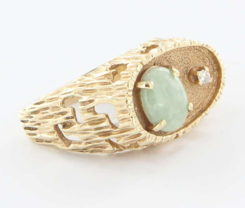Vintage 14 Karat Yellow GoldDiamond Jade Mens Ring Fine Estate Jewelry Used 10