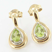 Estate 14 Karat Yellow Gold Peridot Drop Earrings Fine Jewelry Pre-Owned Used