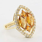 Estate 14 Karat Yellow Gold Citrine Diamond Cocktail Ring Fine Jewelry Pre-Owned