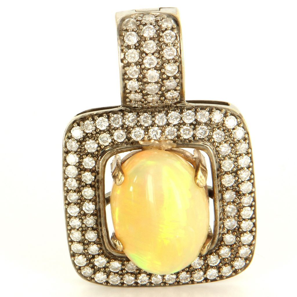 Estate 14 Karat White Gold Natural Opal Diamond Large Cocktail Pendant Enhancer