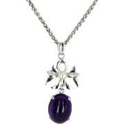 Cabochon Amethyst Cultured Pearl Drop Necklace Vintage 14 Karat White Gold Estate