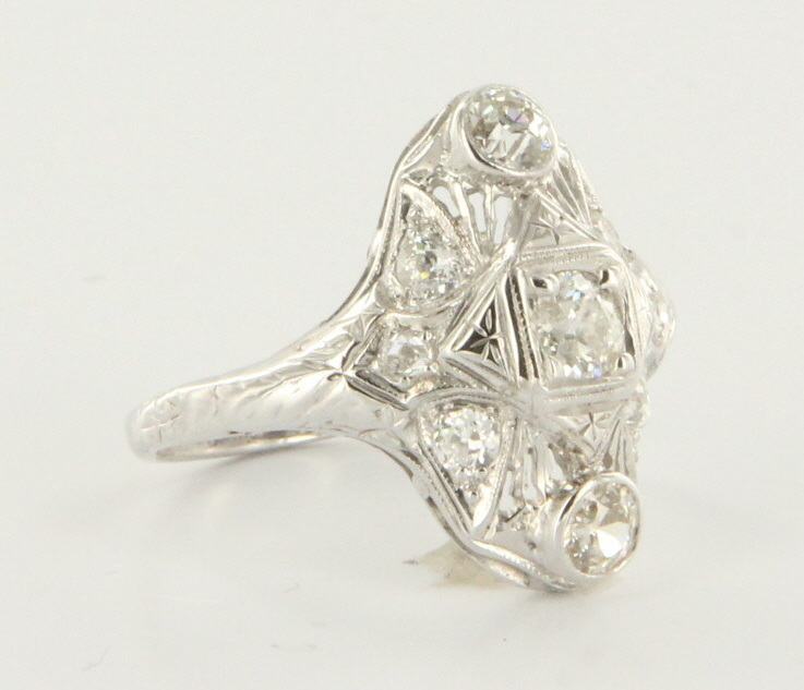 Vintage Art Deco 14 Karat White Gold Diamond Cocktail Ring Estate Fine Jewelry Sz 7.25
