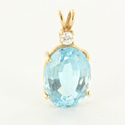 Estate 14 Karat Yellow Gold Blue Topaz Diamond Pendant Vintage Fine Cocktail Jewelry