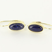 Vintage 14 Karat Yellow Gold Lapis Lazuli Drop Earrings Fine Estate Jewelry Used