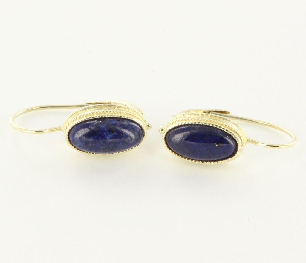 Vintage 14 Karat Yellow Gold Lapis Lazuli Drop Earrings Fine Estate Jewelry Used