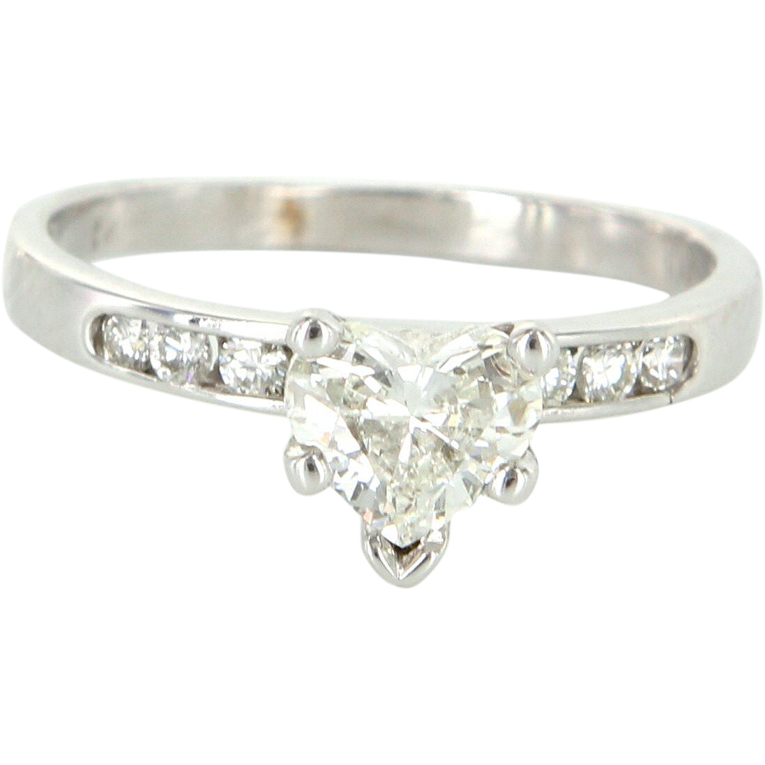 Diamond Heart Solitaire Engagement Ring Vintage 14 Karat White Gold Sz 5 75