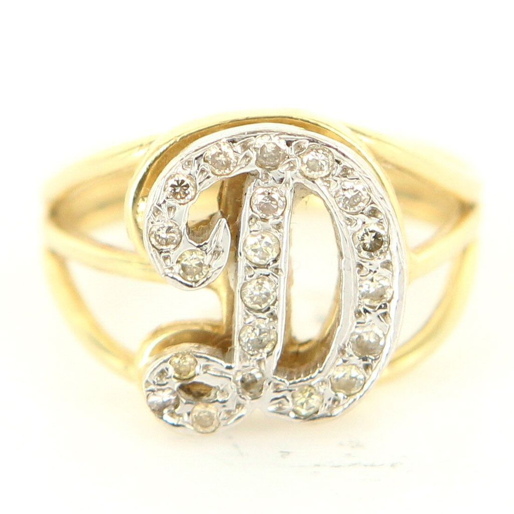 Vintage 14 Karat Yellow Gold Diamond Letter D Initial Cocktail Ring Estate Jewelry