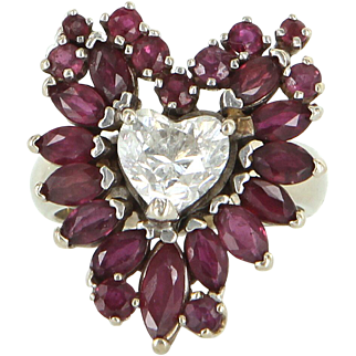 Vintage 14 Karat White Gold Diamond Ruby Heart Cocktail Ring Fine Jewelry Used