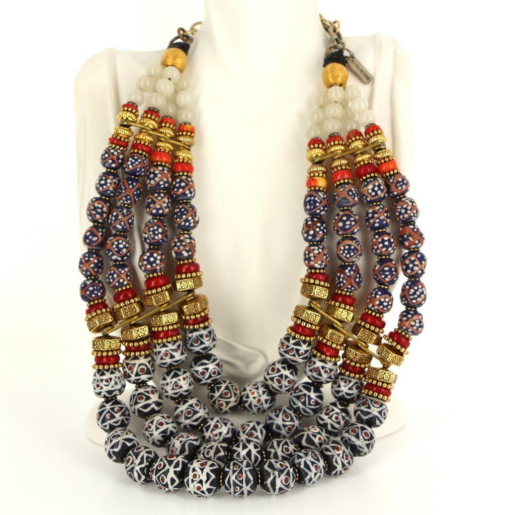 Estate Masha Archer Multi 4 Strand Collar Necklace Designer