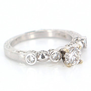 Estate 14 Karat White Gold Diamond Engagement Ring Fine Jewelry Pre-Owned Used