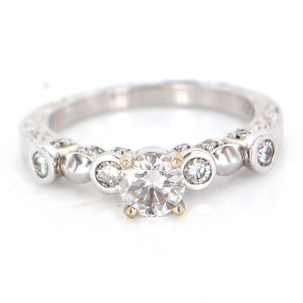 Estate 14 Karat White Gold Diamond Engagement Ring Fine Jewelry from precious