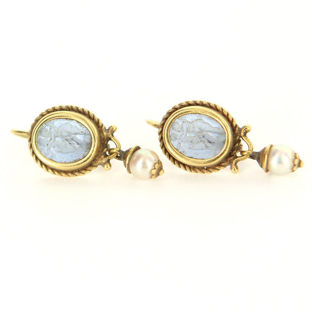 Vintage 14 Karat Yellow Gold Venetian Glass Pearl Cherub Earrings Fine Jewelry