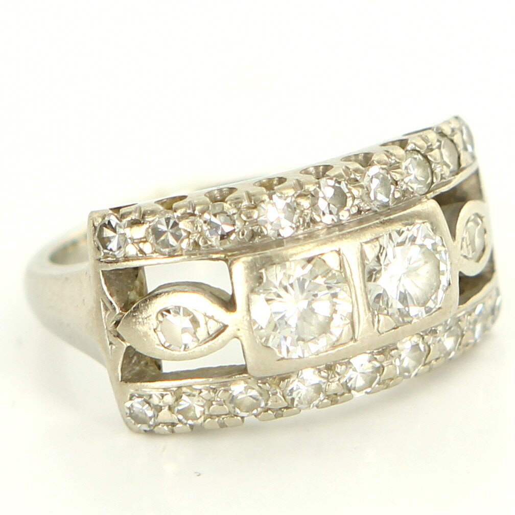 Vintage Art Deco 14 Karat White Gold Diamond Anniversary Ring Estate Jewelry Fine 5.5