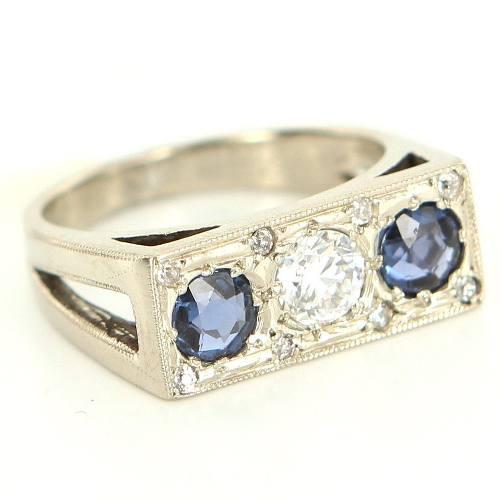 Vintage Art Deco 14 Karat White Gold Diamond Sapphire Bridge Cocktail Ring Estate Fine