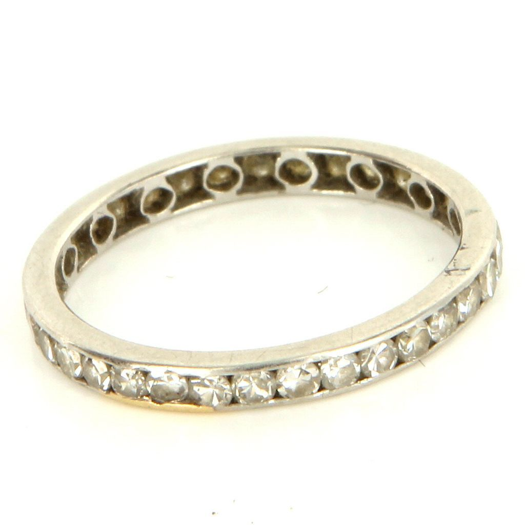 Vintage Art Deco 18 Karat White Gold Diamond Eternity Wedding Band Stack Ring 6