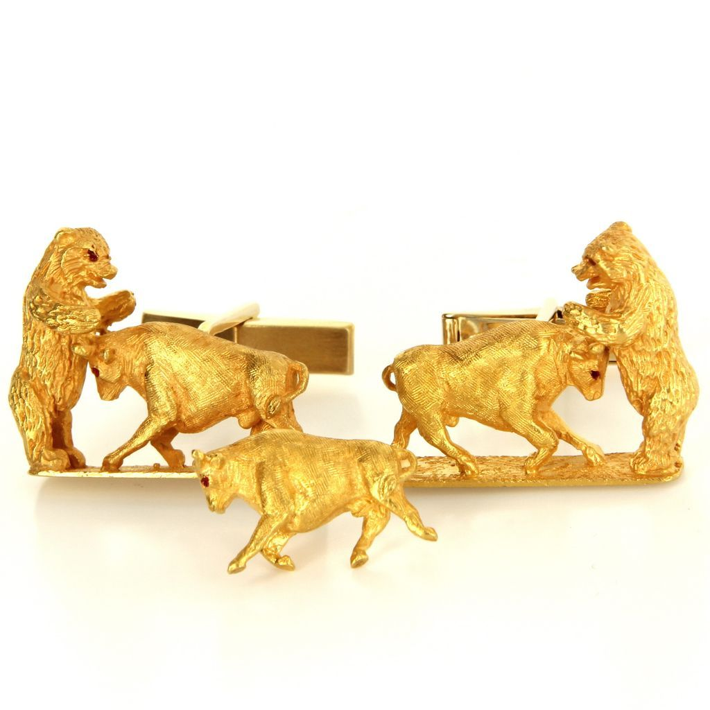 Vintage 14 Karat Yellow Gold Bull Bear Cufflinks Tie Tac Set Mens Fine Estate Jewelry
