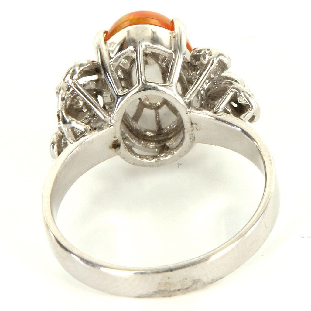 18 karat white gold mexican fire jelly opal diamond cocktail ring used