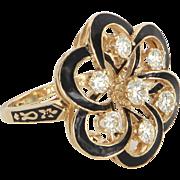 Diamond Black Enamel Cluster Cocktail Ring Vintage 14 Karat Gold Estate Jewelry