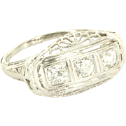 Vintage Art Deco 3 Stone Trilogy Diamond Filigree Ring 18k Gold Estate Jewelry