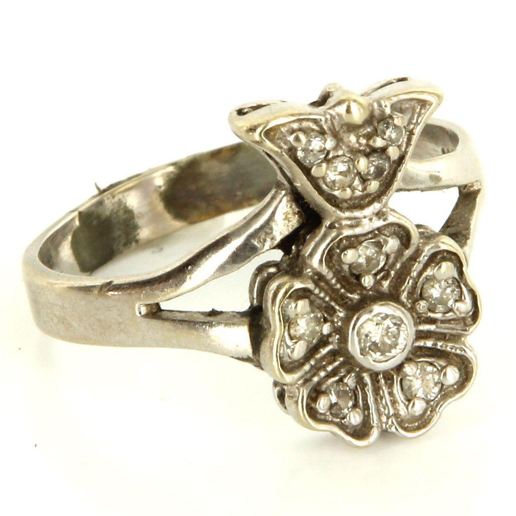 Vintage 14 Karat White Gold Diamond Flower Cocktail Ring Fine Estate Jewelry 7.5