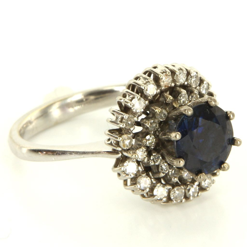 Vintage 18 Karat White Gold Diamond Sapphire Cocktail Ring Fine Estate Je