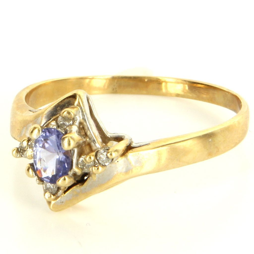 Vintage 14 karat Yellow Gold Diamond Tanzanite Right Hand Ring Fine Jewelry Used