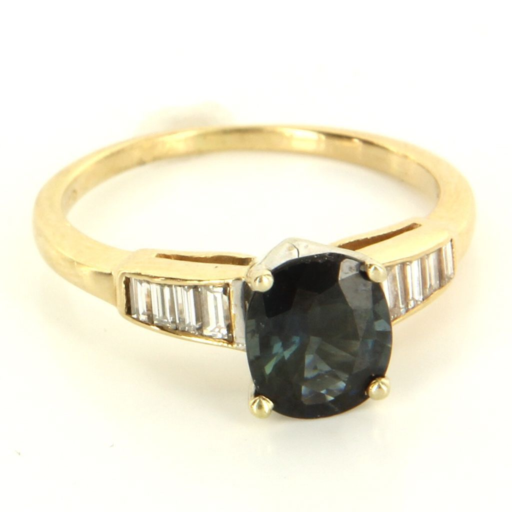 Vintage 14 Karat Yellow Gold Sapphire Diamond Engagement Ring Fine Jewelry Used