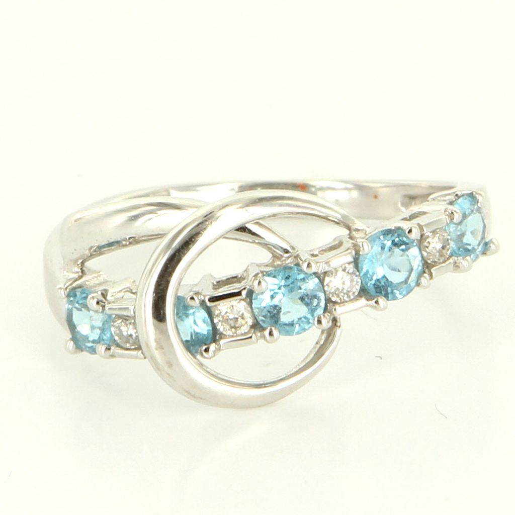 Estate 14 Karat White Gold Diamond Blue Topaz Stack Band Ring Fine Jewelry 6 3/4