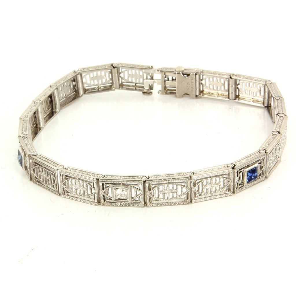 Vintage Art Deco 900 Platinum 14 Karat White Gold Diamond Sapphire Filigree Bracelet