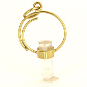Estate 14 Karat Yellow Gold Specimen Rose Quartz Pendant Charm Fine Jewelry Used