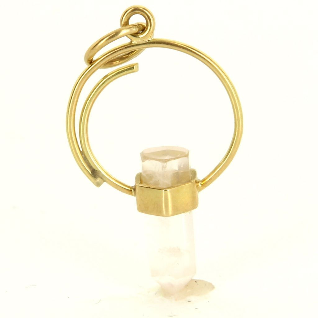 Estate 14 Karat Yellow Gold Specimen Rose Quartz Pendant Charm Fine Jewelry Used
