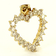 Estate 14 Karat Yellow Gold Diamond Heart Pendant Fine Jewelry Pre-Owned Used
