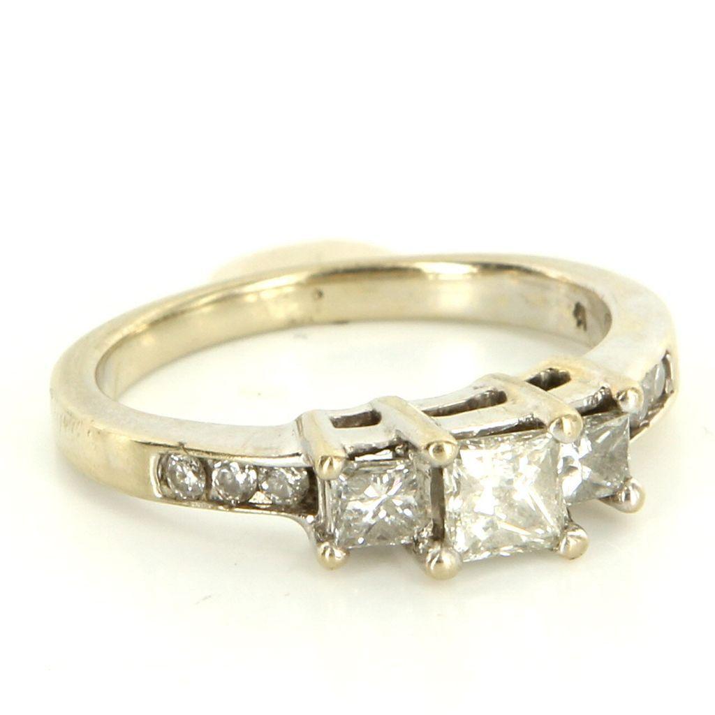 Estate 14 Karat White Gold Diamond Trilogy Wedding Band Ring Fine Jewelry Used