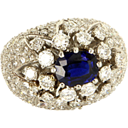 Diamond Sapphire 950 Platinum Dome Cocktail Ring Vintage Fine Estate Jewelry Pre-Owned