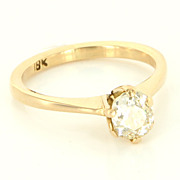 Antique Art Deco 18 Karat Yellow Gold Diamond Engagement Ring Fine Jewelry Used