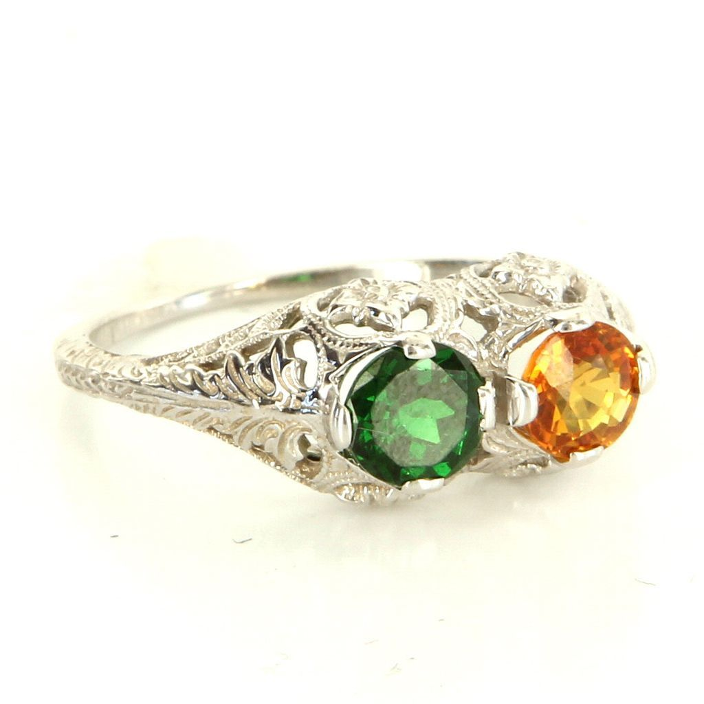 Vintage 14 Karat White Gold Orange Sapphire Tsavorite Green Garnet Filigree Ring