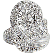 Mixed Cut 1.26ct Diamond Cocktail Ring Vintage 14 Karat White Gold Estate Jewelry