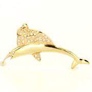 Vintage 14 Karat Yellow Gold Diamond Marlin Fish Pendant Fine Marine Jewelry Sea