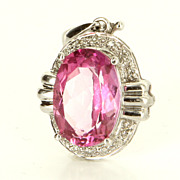 Estate 14 Karat White Gold Diamond Pink Topaz Cocktail Pendant Fine Jewelry Used