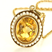 Vintage 14 Karat Yellow Gold Citrine Seed Pearl Pendant Necklace Fine Jewelry