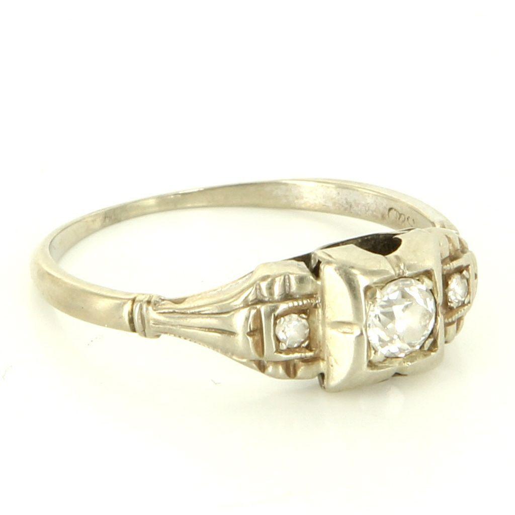 Art Deco 14 Karat White Gold Diamond Engagement Right Hand Ring Vintage